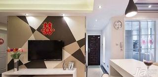 简约风格一居室80平米玄关电视背景墙装修效果图