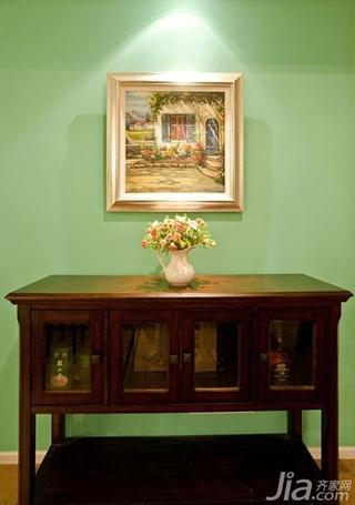 混搭风格绿色130平米玄关柜效果图