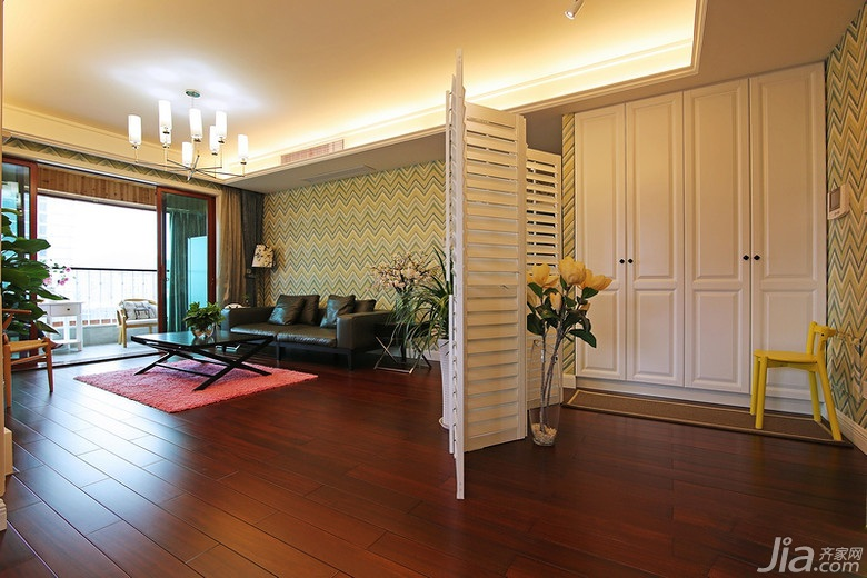 美式风格三居室140平米以上客厅隔断屏风效果图高清图片