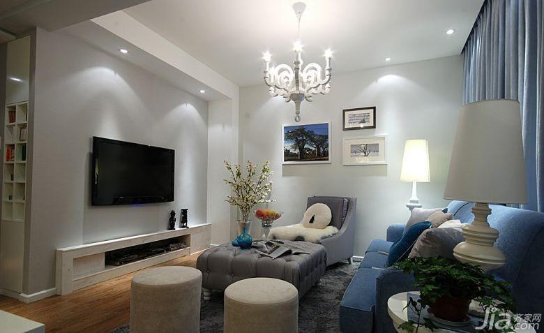现代简约风格三居室120平米电视背景墙灯具效果图