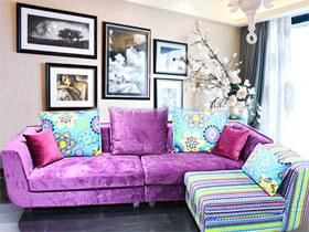 紫色时尚布艺转角沙发