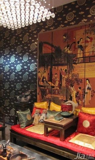 新古典风格复式豪华型140平米以上客厅壁纸新房家装图片