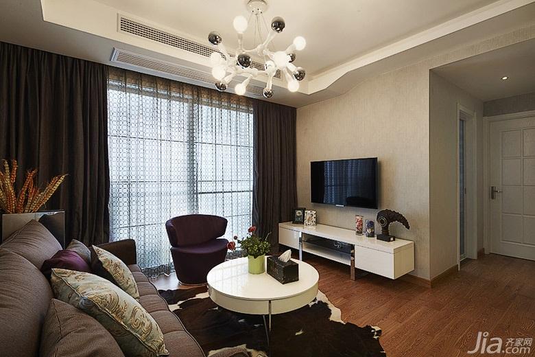 简约风格三居室90平米电视背景墙电视柜婚房设计图