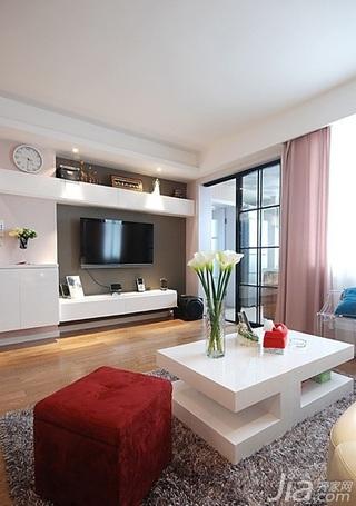 简约风格二居室100平米电视背景墙茶几效果图