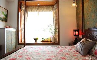 中式风格三居室120平米卧室卧室背景墙床效果图