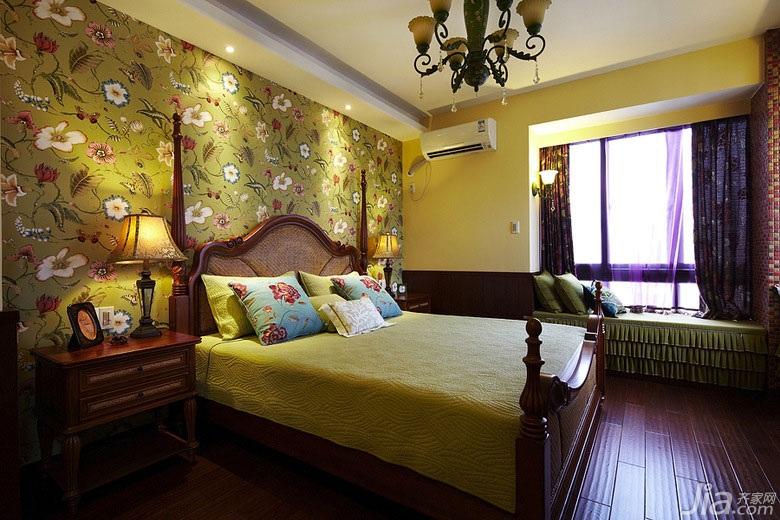 美式乡村风格一居室90平米卧室卧室背景墙床效果图