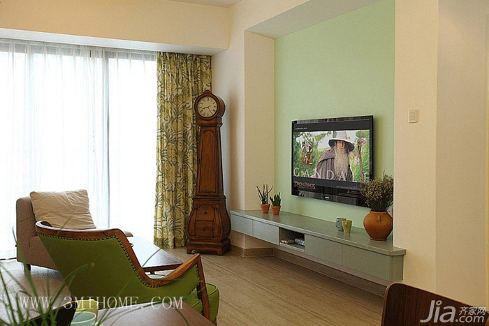 三米设计混搭风格复式富裕型电视背景墙电视柜图片