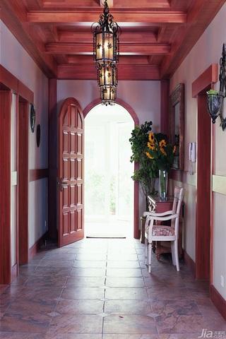 中式风格三居室简洁原木色20万以上140平米以上玄关走廊设计