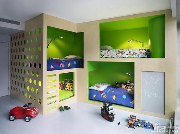 东南亚风格三居室富裕型儿童房卧室背景墙床效果图