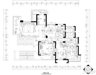 简欧风格四房20万以上140平米以上户型图