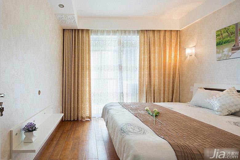 简约风格二居室富裕型卧室床效果图