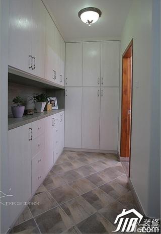 三米设计混搭风格复式富裕型门厅玄关柜效果图