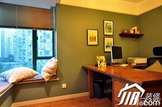 美式乡村风格三居室富裕型120平米书房飘窗书桌效果图