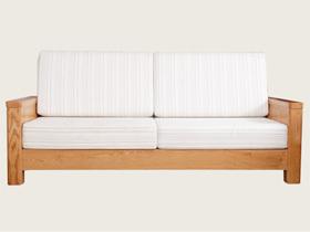 红橡木简约三人客厅沙发