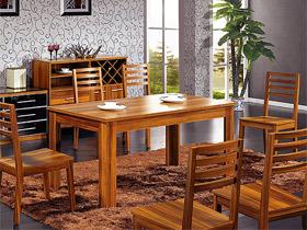 花梨色原木餐桌椅