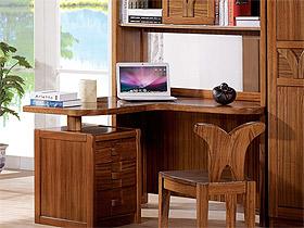 烏金木實木轉角電腦桌簡約書桌書架