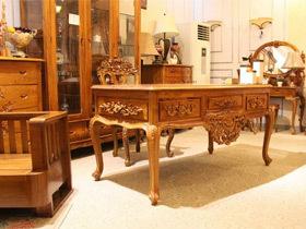 天然环保纯柚木欧式书桌