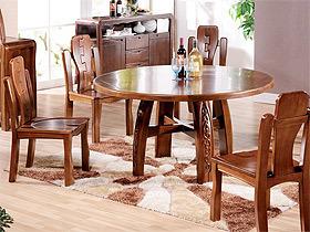 中国风胡桃木圆餐桌椅组合