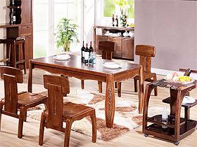 中式长方形胡桃木餐桌椅组合