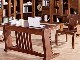 中国风大气胡桃木书桌