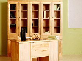 新西兰松木双门带抽屉书柜