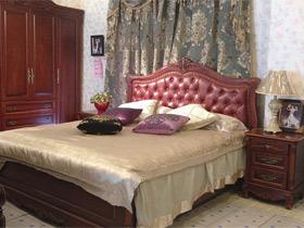 美式真皮樱桃木实木床+2床头柜