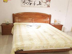 榉木100%全实木双人床+2床头柜