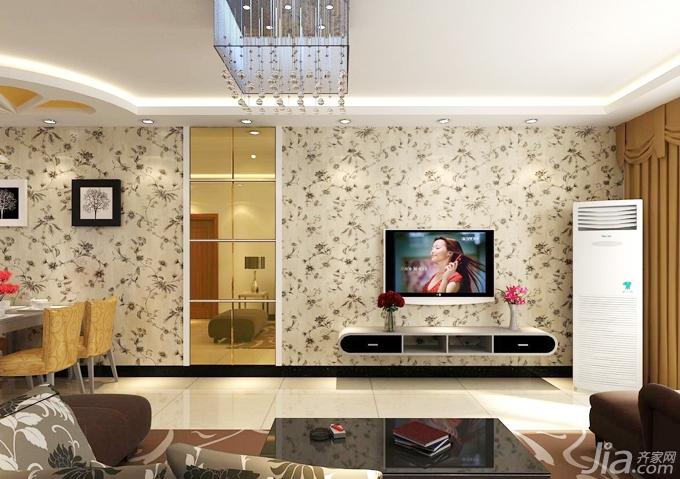 整体家装墙面的花纹壁纸,电视背景墙就不需要设计了,电视本身便