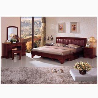 现代简约 红橡木1.8米双人床