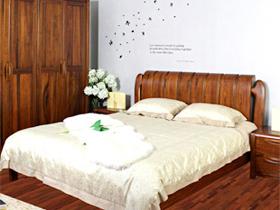 黑胡桃木双人床 高档全实木卧室家具