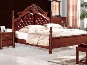 卧室头层青牛皮软包双人床1.8米