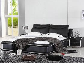 后现代风格 迷人黑色真皮双人床
