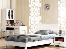 現代新古典白色亮光單人床