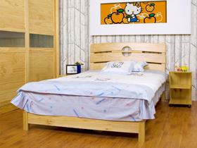 全實木環保平板床 三片圓孔床