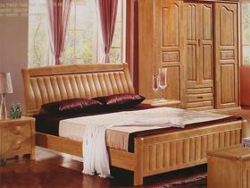 橡胶木榉木色1.5米双人床