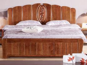 现代简约中式胡桃木双人床
