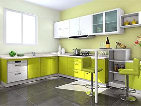 开放式厨房L型烤漆橱柜