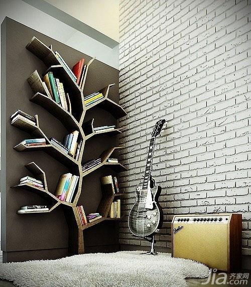 效果图 兰州/树形书架设计是常见创意设计之一,造型别致生动,除了放置书本...