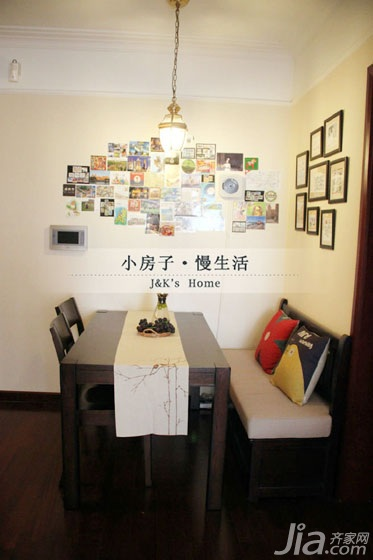 美式风格两室一厅温馨60平米餐厅餐厅背景墙效果图