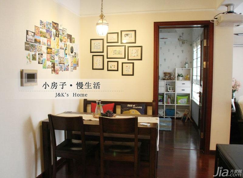 美式风格两室一厅温馨60平米设计图