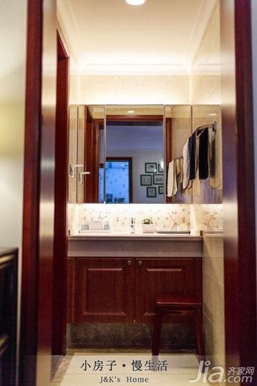 美式风格两室一厅温馨60平米洗手台图片