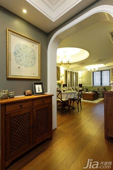 美式风格两室两厅温馨绿色玄关设计