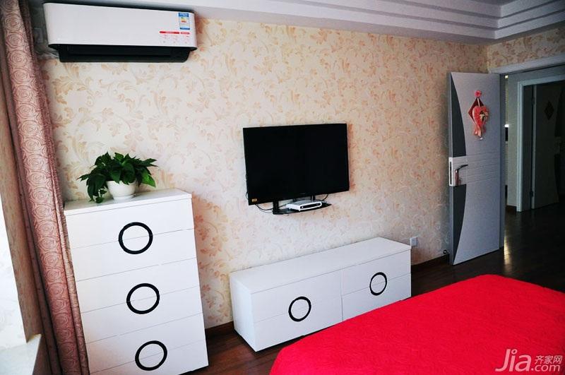 简约风格温馨90平米卧室卧室背景墙婚房家装图片