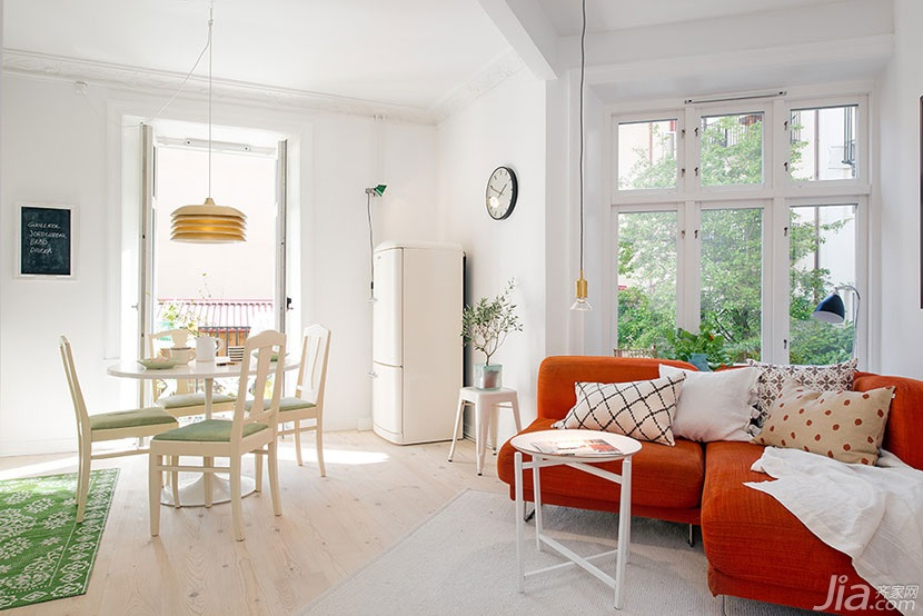 田园风格小户型小清新橙色沙发效果图