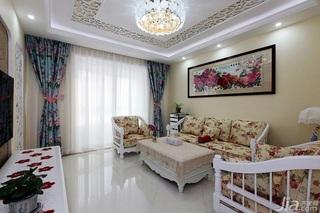 田园风格两室一厅小清新10-15万80平米客厅装修图片