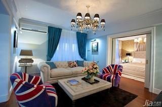 英伦风格一室一厅艺术100平米客厅沙发图片