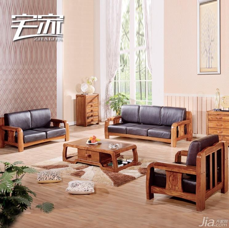 乌金木现代中式真牛皮转角沙发图片