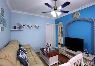 地中海风格小户型小清新蓝色客厅婚房家装图片