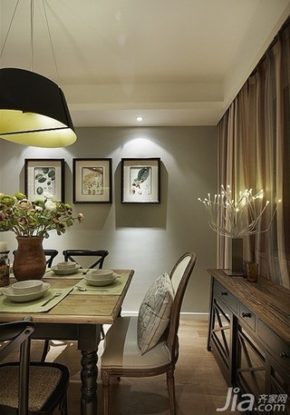 美式风格二居室时尚咖啡色旧房改造家装图片