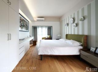三米设计混搭风格小清新富裕型卧室卧室背景墙床效果图